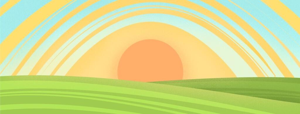 An eye shaped sun rising