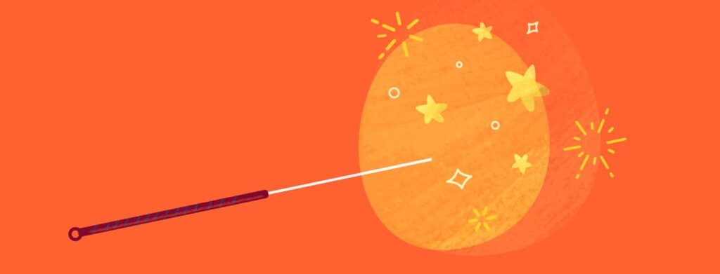 Stars and sparkles surround an acupuncture needle.