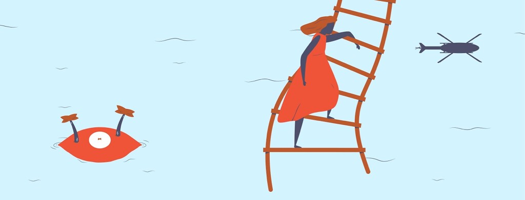 A woman on a helicopter rope ladder escaping an eye-shaped island