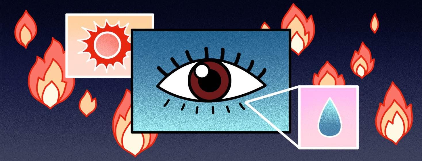 A diagram of an eye, a teardrop, and a sun float among flames.