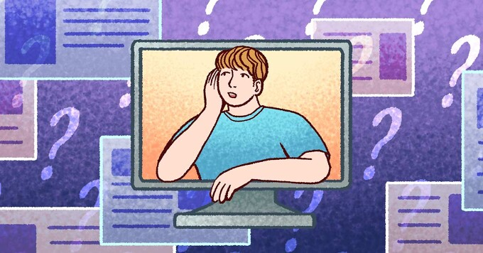 A man leaning out of a computer screen and looking at web pages surrounded by question marks.