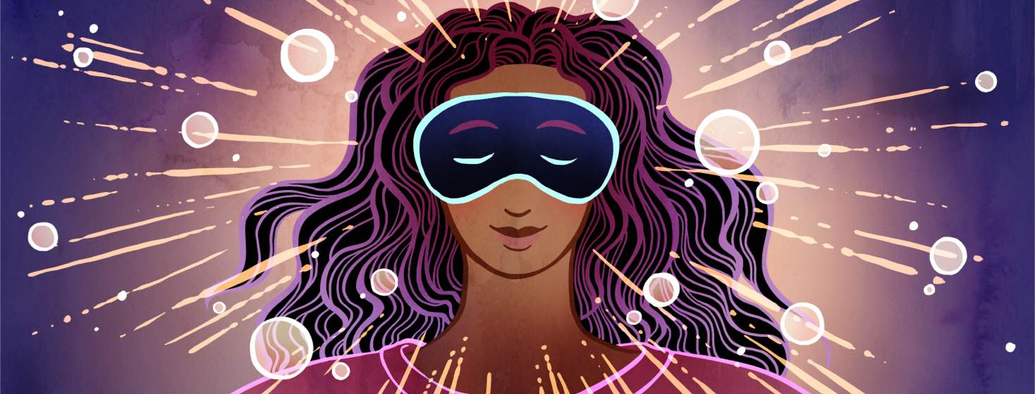 Sparkles and rays of light radiate from a smiling woman wearing an eye mask.