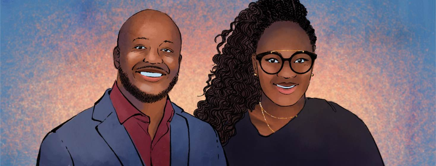 Portrait of Dr. Jacobi Cleaver and Dr. Essence Johnson, members of the Black EyeCare Perspective team.