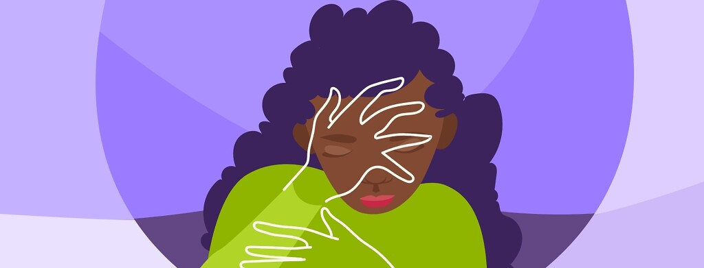 A woman uses her hand to hide her face, outlines, eyes are closed