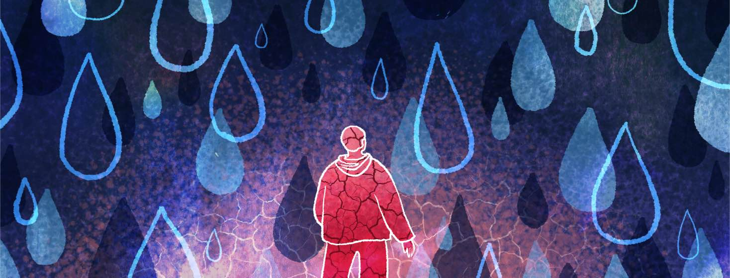 A man's silhouette is filled with cracks, despite being surrounded by drops of water.