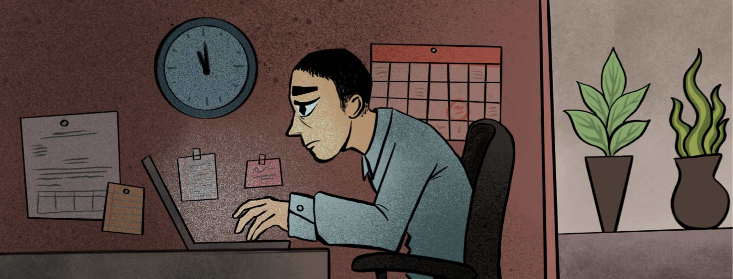 Adult male works at desk in cubicle. He is overworked and above him is a clock that is about to strike midnight.