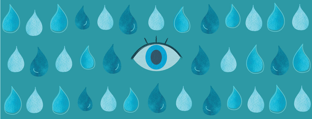 eye surrounded by water droplets, humidifier, humidity, moisture.
