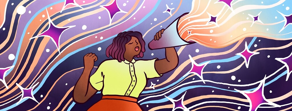 Among a background of shining waves and sparkles, a woman's voice is magnified through a megaphone and joins the rainbow fray.